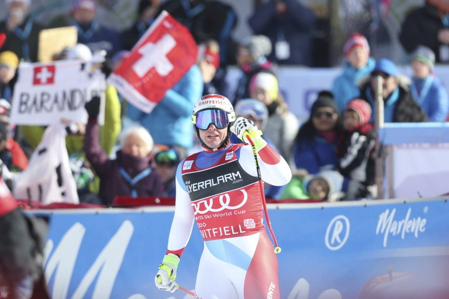 Swiss Beat Feuz during an alpine ski, men's World Cup downhill event in Kvitfjell, Norway, Saturday, March 10, 2018. (Geir Olsen / NTB scanpix via AP)