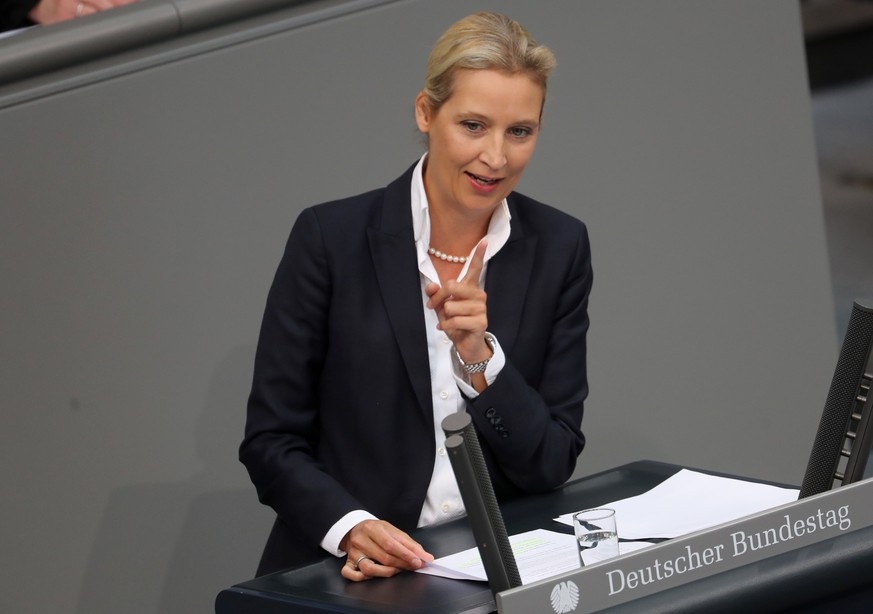 epa07834219 Bundestag faction co-chairwoman of the Alternative for Germany (AfD) right-wing populist party Alice Weidel speaks during a session of the German parliament 'Bundestag' in Berlin, Germany, 11 September 2019. Members of Bundestag debate on the government's draft budget for 2020 including the budget of the Federal Chancellor and Chancellery.  EPA/HAYOUNG JEON