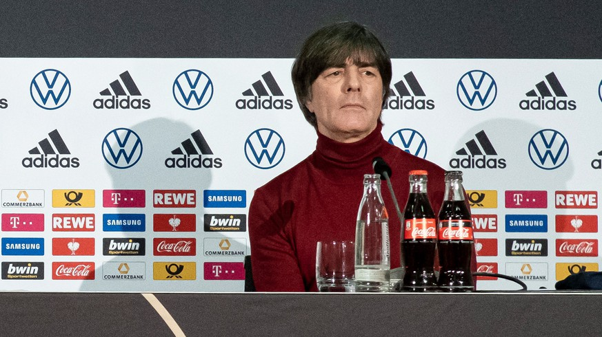 epa08868525 A handout photo made available by the German Football Association (DFB) shows German national soccer team head coach Joachim Loew during a press conference in Frankfurt am Main, Germany, 07 December 2020.  EPA/THOMAS BOECKER / HANDOUT  HANDOUT EDITORIAL USE ONLY/NO SALES