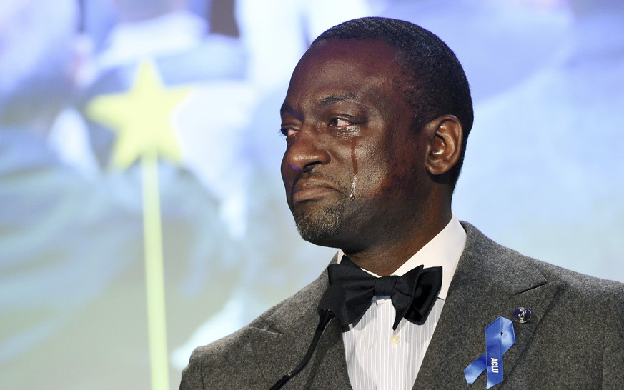 Honoree Yusef Salaam becomes emotional as he addresses the audience at the ACLU SoCal's 25th Annual Luncheon at the JW Marriott at LA Live, Friday, June 7, 2019, in Los Angeles. (Photo by Chris Pizzello/Invision/AP)