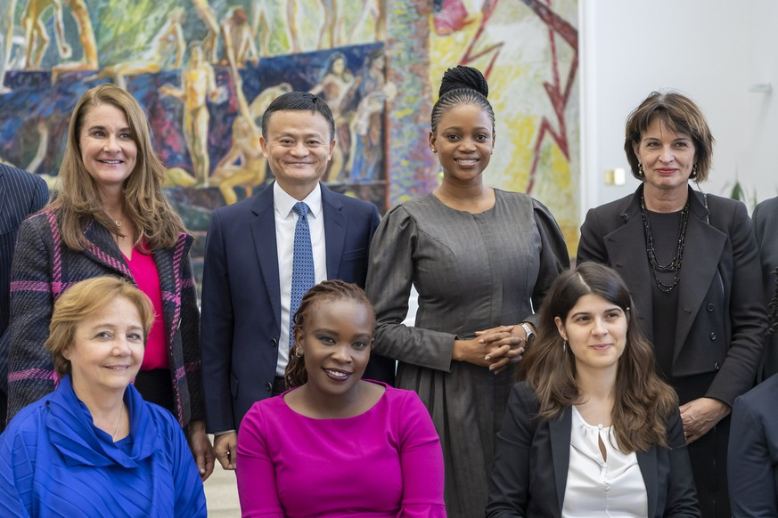 Jack Ma, center, Executive Chairman of the Alibaba Group and Melinda Gates, left, Co-Chair of the Bill & Melinda Gates Foundation and everything on the right Doris Leuthard, former Swiss Federal Councilor, pose during the Meeting of the High-level Panel on Digital Cooperation at the European headquarters of the United Nations in Geneva, Switzerland, Monday, January 21, 2019. The panel aims to advance proposals to strengthen cooperation in the digital space among governments, the private sector, civil society, international organizations, academia, the technical community and other relevant stakeholders. (KEYSTONE/Martial Trezzini)