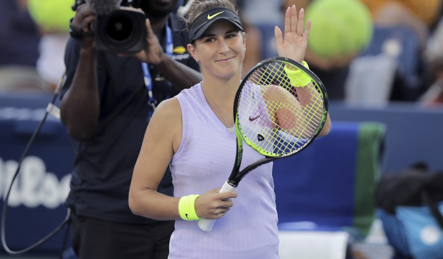 Belinda Bencic, of Switzerland, reacts after defeating Alize Cornet, of France, during the second round of the US Open tennis championships Thursday, Aug. 29, 2019, in New York. (AP Photo/Charles Krupa)