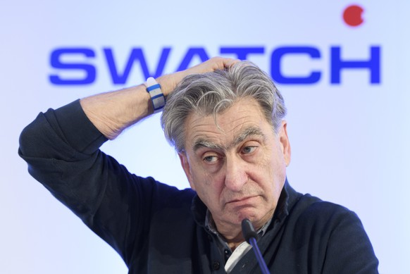 epa06602852 Nick Hayek, CEO Swatch Group, President of the Swatch Group Executive Management Board speaks during a press conference of the year 2017 final results of Swiss watch company Swatch Group, in Biel, Switzerland, 14 March 2018. Swatch Group reported net sales for 2017 of 7.960 billion CHF, an increase of 5,4 per cent and net income of 755 million CHF, an increase of 27.3 per cent from previous year's 593 million CHF.  EPA/ANTHONY ANEX