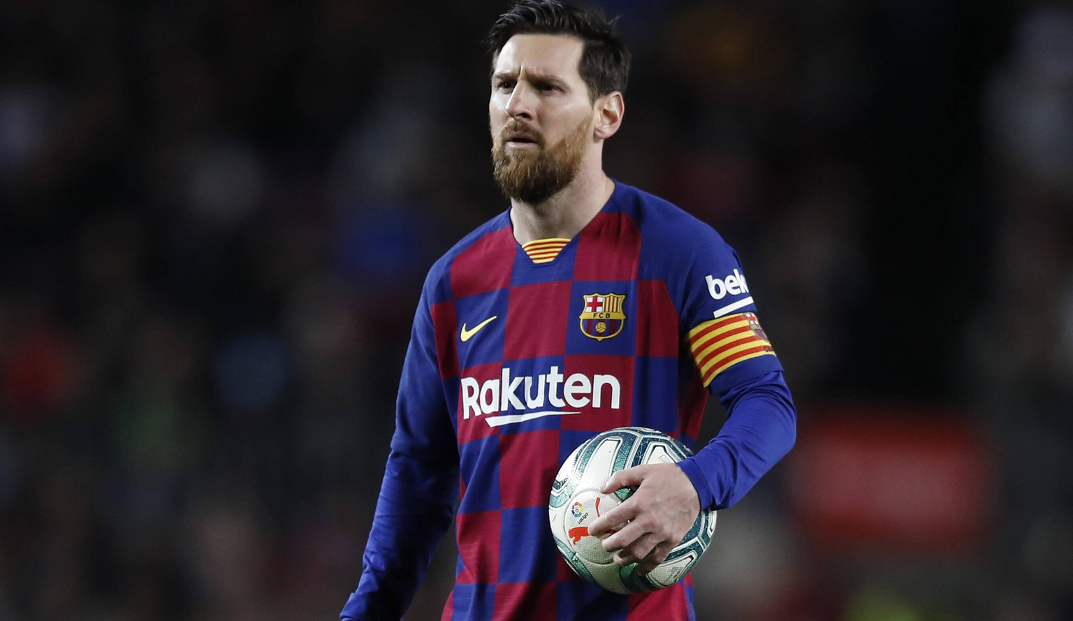March 7, 2020, Barcelona, Catalonia, Spain: March 7, 2020 - Camp Nou, Barcelona, Spain - LaLiga Santander- FC Barcelona, Barca v Real Sociedad Lionel Messi of FC Barcelona looks on during the match. Barcelona Spain - ZUMAa178 20200307zapa178015 Copyright: xEricxAlonsox
