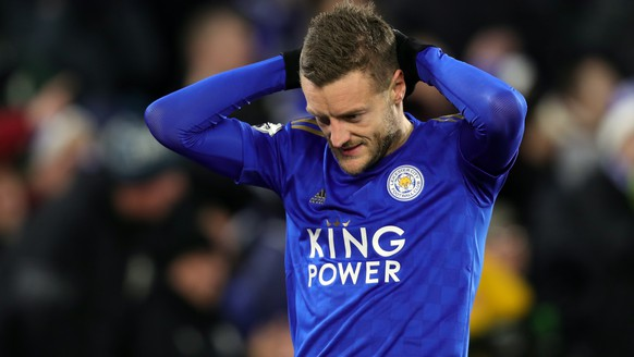 epa08071577 Leicester City's Jamie Vardy reacts during the English Premier League soccer match between Leicester City and Norwich City at the King Power stadium in Leicester, Britain, 14 December 2019.  EPA/TIM KEETON EDITORIAL USE ONLY. No use with unauthorized audio, video, data, fixture lists, club/league logos or 'live' services. Online in-match use limited to 120 images, no video emulation. No use in betting, games or single club/league/player publications