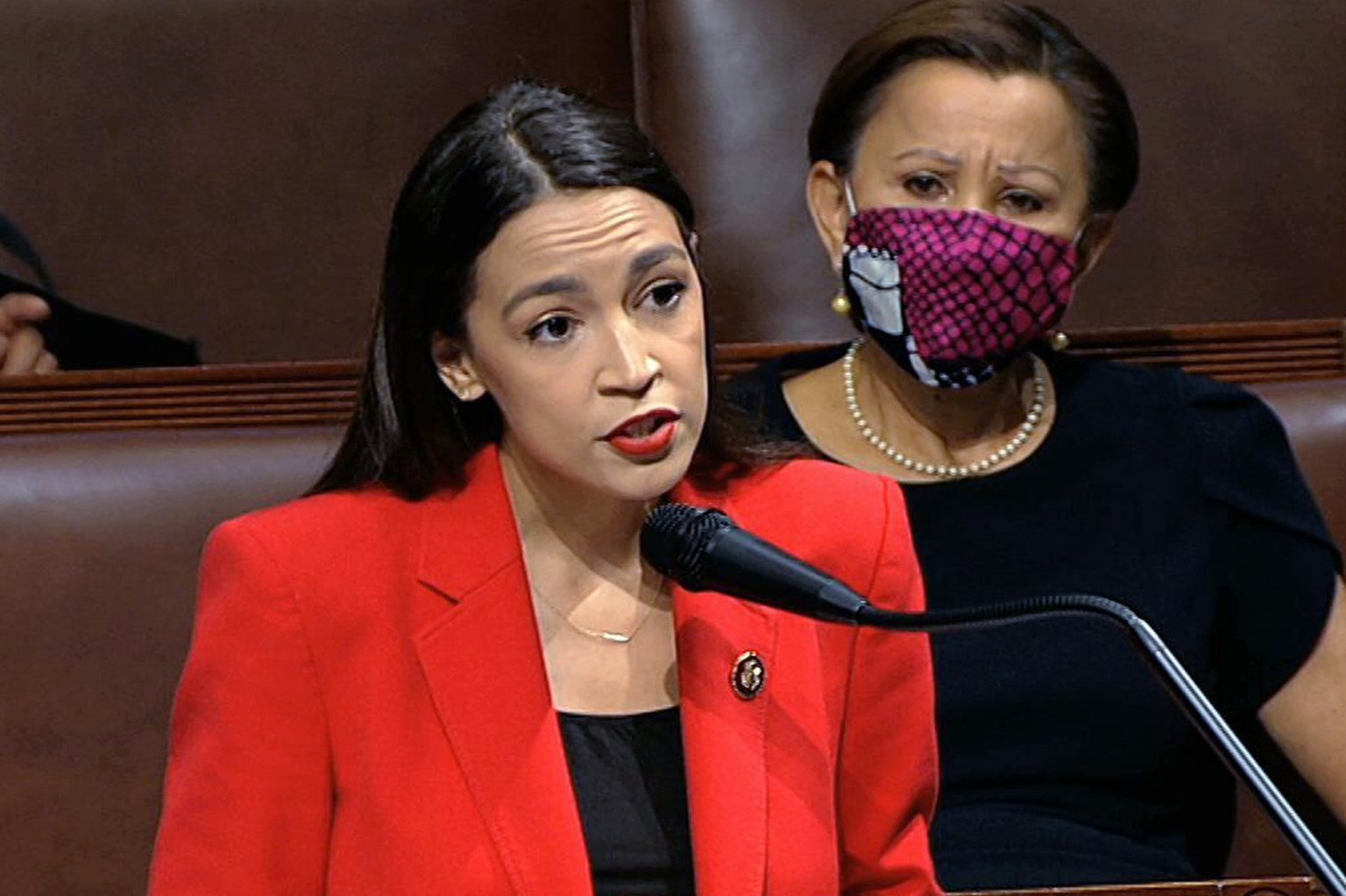 In this image from video, Rep. Alexandria Ocasio-Cortez, D-N.Y., speaks on the House floor, Thursday, July 23, 2020 on Capitol Hill in Washington.   Ocasio-Cortez's objections to a Republican lawmaker's verbal assault on her expanded Thursday as she and other Democrats took to the House floor to demand an end to a sexist culture of