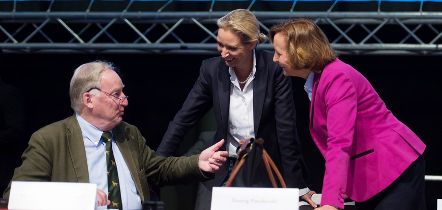 epa06851145 The co-chairs of the parliamentary group of the right-wing AfD party Alexander Gauland (L-R), Alice Weidel and the Member of the parliamentary group of the AfD party, Beatrix von Storch, during the first day of the AfD convention in Augsburg, Germany, 30 June 2018. The Alternative for Germany (AfD) party meets in the bavarian city Augsburg for a two-day congress.  EPA/DANIEL KOPATSCH