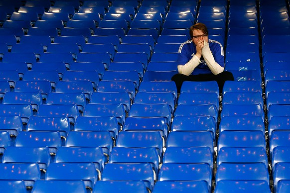 LONDON, ENGLAND - OCTOBER 03:  A Chelsea fan reacts after his team's 1-3 defeat in the Barclays Premier League match between Chelsea and Southampton at Stamford Bridge on October 3, 2015 in London, United Kingdom.  (Photo by Julian Finney/Getty Images)