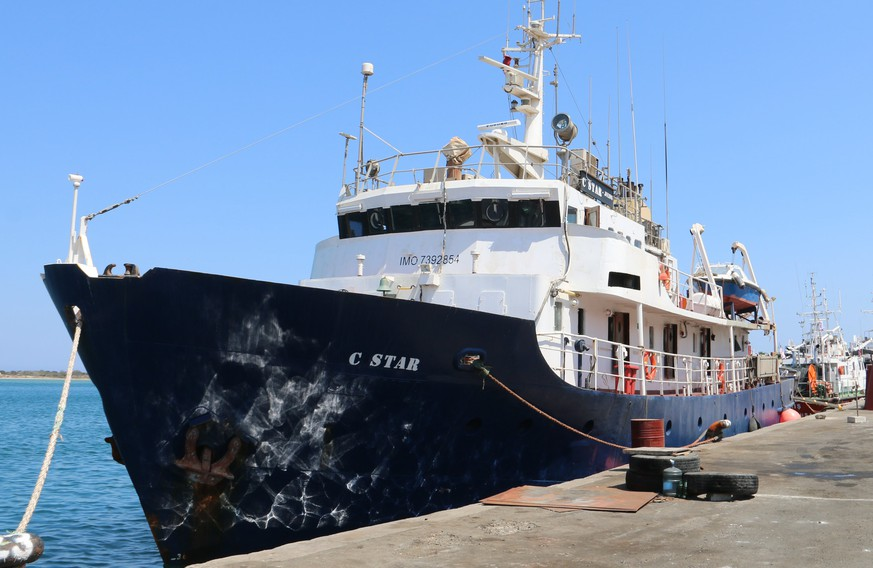epa06112800 The ship C-Star of far-right wing organisation Defend Europe is anchored in Famagusta Port, Northern Cyprus, 27 July 2017. The C-Star is a ship hired by a European far-right movement aiming to disrupt migrant rescues in the Mediterranean. According to reports, the crew of the ship has been evacuated and its Captain and Deputy Captain were arrested in Cyprus for allegedly forging false documents and human trafficking.  EPA/STR