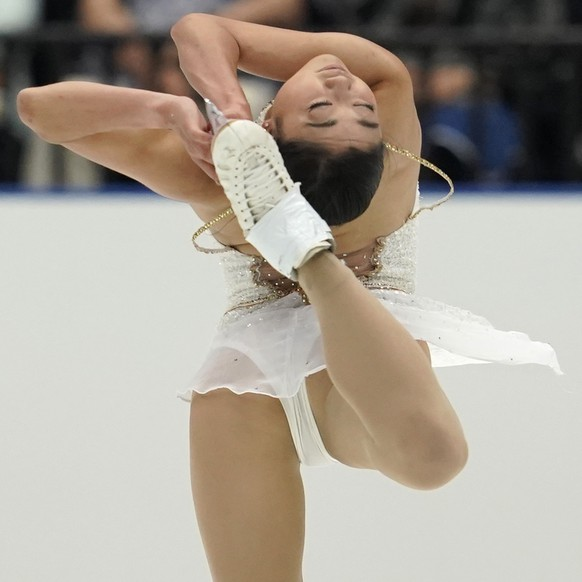 Mirai Nagasu of the United States performs her women's free skating routine during the Japan Open figure skating team competition at the Saitama Super Arena in Saitama, Japan, Saturday, Oct. 5, 2019. (AP Photo/Toru Hanai)Nagasu of the United States performs her women's free skating routine during Japan Open figure skating team competition at Saitama Super Arena in Saitama