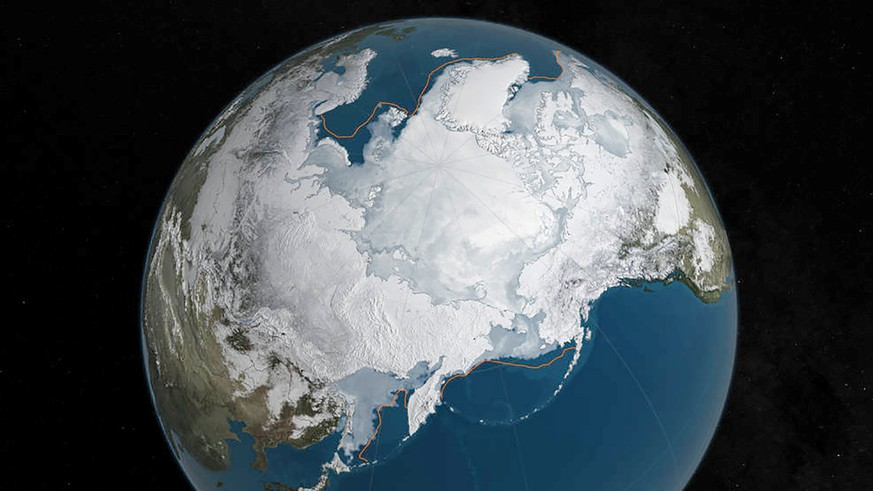 FILE PHOTO: An undated NASA illustration shows Arctic sea ice at a record low wintertime maximum extent for the second straight year, according to scientists at the NASA-supported National Snow and Ice Data Center (NSIDC) and NASA. NASA/Goddard's Scientific Visualization Studio/C. Starr/Handout via Reuters/File Photo ATTENTION EDITORS - THIS IMAGE WAS PROVIDED BY A THIRD PARTY. EDITORIAL USE ONLY.