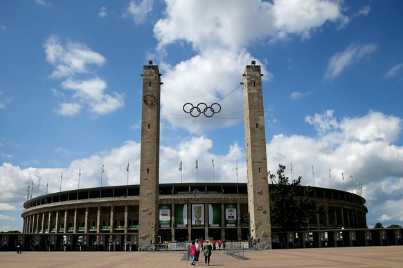 BERLIN, GERMANY - MAY 30:  A general view of the Olympiastadion prior to the DFB Cup Final 2015 between Borussia Dortmund and VfL Wolfsburg at Olympiastadion on May 30, 2015 in Berlin, Germany.  (Photo by Martin Rose/Bongarts/Getty Images)
