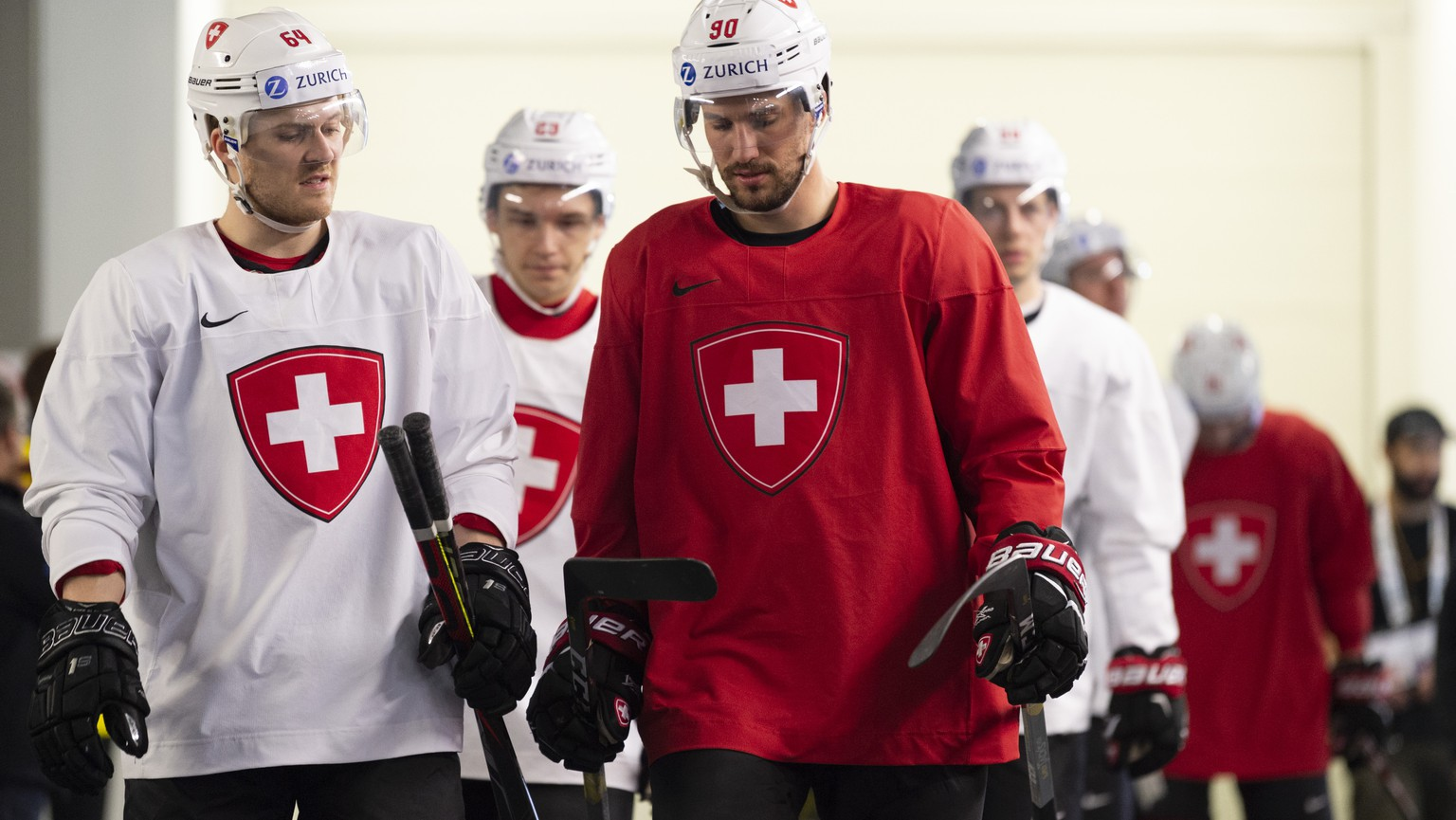 Switzerland's Christoph Bertschy, left, and Switzerland's Roman Josi, during a training session of the Swiss team at the IIHF 2019 World Ice Hockey Championships, at the Ondrej Nepela Arena in Bratislava, Slovakia, on Friday, May 10, 2019. (KEYSTONE/Melanie Duchene)