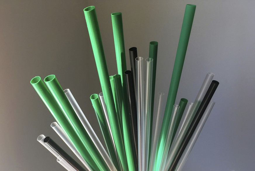 Plastic drinking straws are photographed in New York, Wednesday, May 23, 2018. Citing the growing problem of plastic pollution, New York City Council Member Rafael Espinal introduced the bill on Wednesday, May, 23, 2018 that would ban the use of plastic straws and stirrers in New York City bars, restaurants and coffee shops. (AP Photo/Barbara Woike)