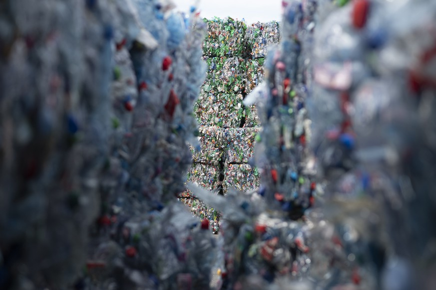 PET bottles, pictured on the occassion of the official opening of the new PET recycling plant of Poly Recycling AG, on Wednesday, April 3, 2019, in Bilten, Switzerland. It is said to be the most modern PET recycling plant in Europe. (KEYSTONE/Gian Ehrenzeller)