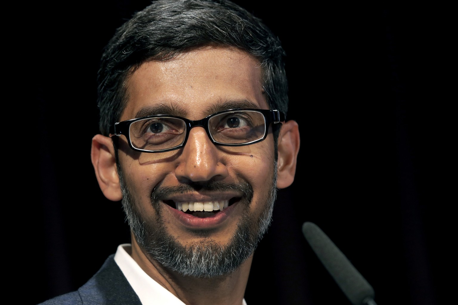 FILE - In this Tuesday, Jan. 22, 2019, file photo, Sundar Pichai, CEO of Google, speaks during a statement as part of the opening of a new Google office in Berlin. Google is committing to a White House initiative designed to get private companies to expand job training for American workers. (AP Photo/Michael Sohn, File)