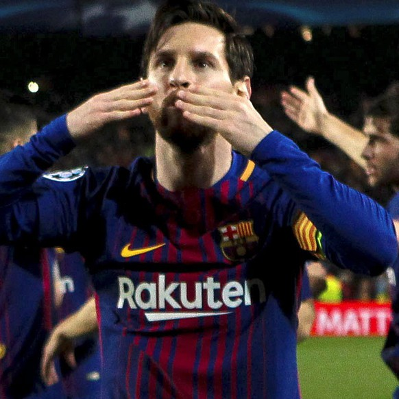 epa06604600 FC Barcelona's Lionel Messi celebrates a goal  during the UEFA Champions League Round of 16, second leg soccer match between FC Barcelona and Chelsea FC at Nou Camp stadium in Barcelona, Spain, 14 March 2018.  EPA/ENRIC FONTCUBERTA