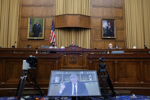 epa08573479 Amazon CEO Jeff Bezos testifies via video conference during a House Judiciary Subcommittee on Antitrust, Commercial and Administrative Law on 'Online Platforms and Market Power' in the Rayburn House office Building on Capitol Hill in Washington, DC, USA, on 29 July 2020.  EPA/Graeme Jennings / POOL