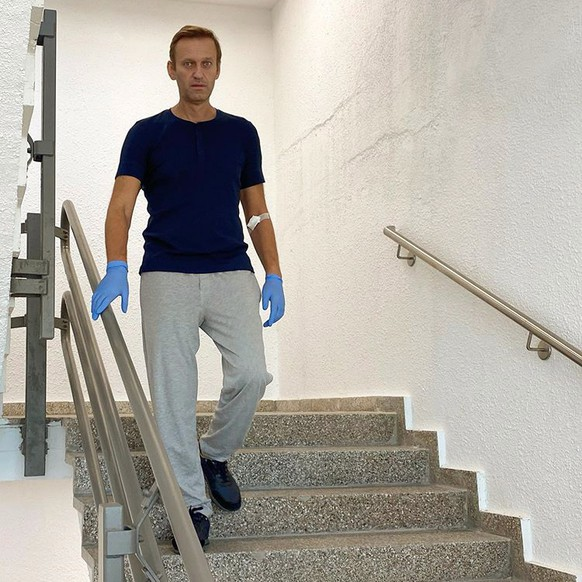 epa08689803 An undated, recent handout photo made available by Russian opposition leader Alexei Navalny via his Instagram site shows Navalny on the stairs at the Charite hospital in Berlin, Germany (reissued on 23 September 2020). The Charite hospital in Berlin announced, that Navalny has been discharged on 22 September 2020, saying the state of health of Alexei Nawalny has 'improved so far that the acute medical treatment could be terminated'. Navalny was treated at the Charite hospital in Berlin since 22 August 2020 for being poisoned with a nerve agent from the Novichok group.  EPA/ALEXEI NAVALNY HANDOUT  HANDOUT EDITORIAL USE ONLY/NO SALES