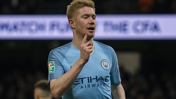 epa07271956 Manchester City's Kevin De Bruyne celebrates scoring the first goal during the Carabao Cup semi final first leg soccer match between Manchester City and Burton Albion held at the Etihad Stadium in Manchester, Britain, 09 January 2019.  EPA/PETER POWELL EDITORIAL USE ONLY. No use with unauthorized audio, video, data, fixture lists, club/league logos or 'live' services. Online in-match use limited to 120 images, no video emulation. No use in betting, games or single club/league/player publications.